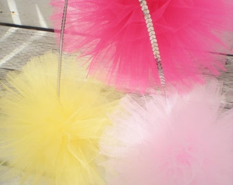 """3 hot pink, yellow, light pink tulle pom poms, 8"""" diameter, sequin string for hanging"""