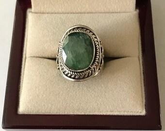 Vintage Sterling Silver Aventurine Ring Size 7.5