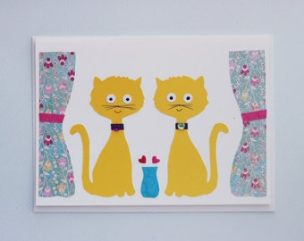 Cats in Love - print card by Emily Lin