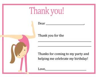 Gymnastics Thank You Card - Gymnastics Theme - Digital file - You print / Gymnastics Birthday Thank You Card