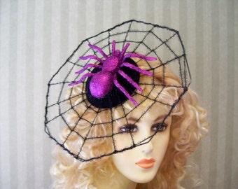 Halloween Spider Web Fasciantor With Purple Spider Spiderweb Halloween  Party Head Piece