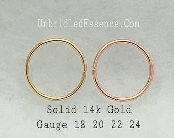 Solid 14k Rose Gold Nose Ring Septum Gauge 16 18 20 22 24g Daith Earring Conch Hoop Rook Helix Cartilage Belly Button Ring  8 9 10 11 12mm
