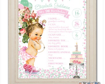 PRINCESS 1st Birthday Chalkboard Sign - Poster - First - Milestone - Vintage Baby Girl - Pearls - Personalized & Printable – DIGITAL FILE