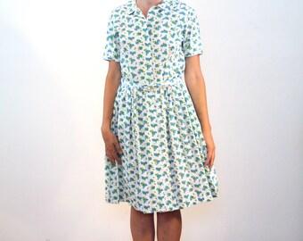 Juniper, 60s Shirtwaist Dress, 1960s New Old Stock Dress L, Blue & Green Grapes Print Dress, Deadstock Dress, Fruit Print Day Dress, Large
