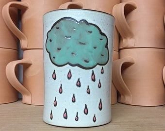 Blue rain cloud mug