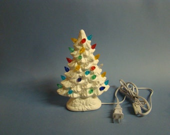 Handmade ceramic Christmas tree 9 inch high. WHITE color,twist lights