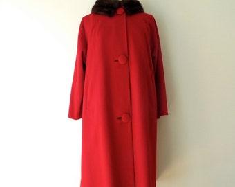 Vintage Red Wool Coat Mink Fur Collar Medium/Red Lambswool Coat/Mid Century Red Coat with Mink Collar/Medium