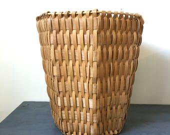 woven bamboo basket - octagon planter - rattan wastepaper basket - plant holder