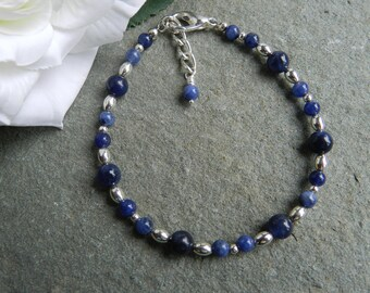 Sodalite Gemstone Jewellery, Sodalite Beaded Bracelet, Blue Sodalite Bracelet, Birthday Gift, Anniversry, Bridesmaid,
