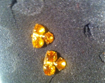 Vintage ochre crystal clip 1980s earrings antique retro