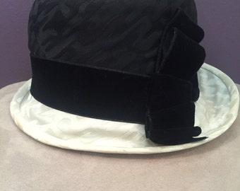 Cloche Black and White Hat