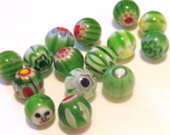 8mm round millefiori beads. Green beads. Green and red beads. Green Millefiori flower beads. Earring beads, bracelet beads (14)