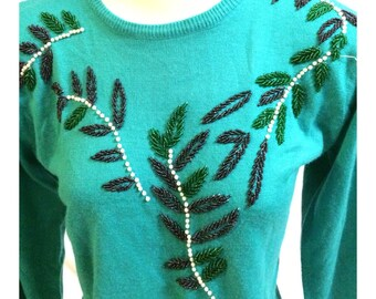 Vintage Turquoise Blue Beaded Gem Sweater Size S
