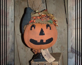 SALE Primitive folk art pumpkin crow make do HAGUILD HAFAIR ofg jack o lantern faap
