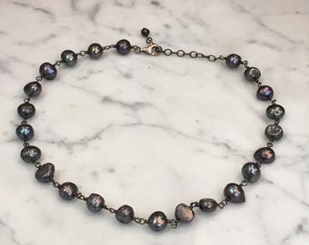 Sterling Silver Purple Iridescent Real Pearl Necklace