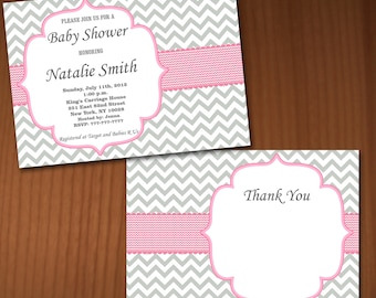 Baby Shower Invitation Girl Baby Shower invitations Printable Baby Shower Invites -FREE Thank You Card - editable pdf Download (576) rose
