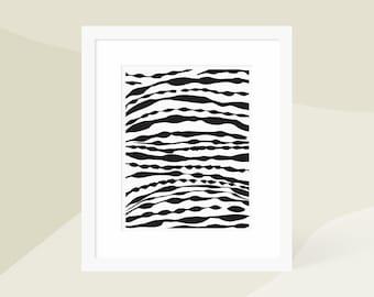 Minimalist Modern Painting / Minimalist Abstract Art Print Black / Large Vertical Wall Art / Matted and Framed / 18x24 16x20 11x14 8x10 5x7