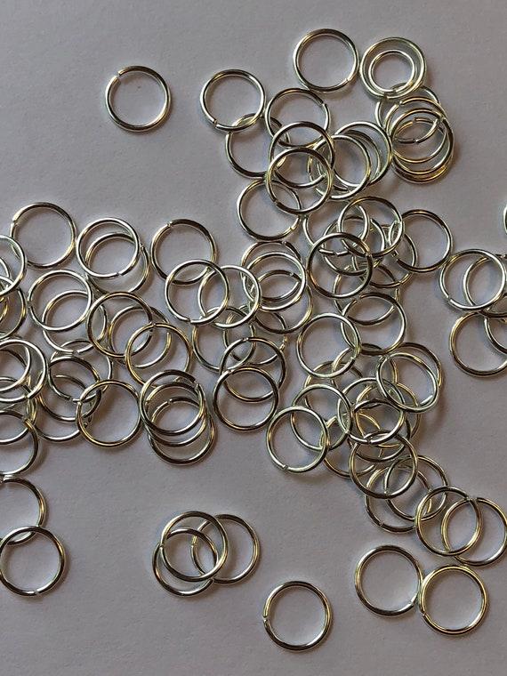 18 Grams of Metal Jewelry Findings - Jumprings, 8mm OD, 6mm ID, 21 Gauge, Open Rings, Silver Color, Beading, Large Size, Base Metal