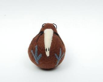 Needle felted Kiwi - New Zealand bird christmas decoration
