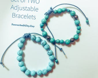 Set of Two adjustable cord bracelets Turquoise Color