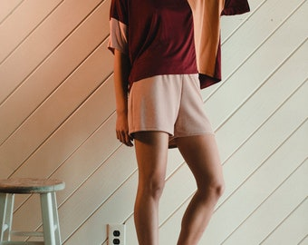 Wine Color Blocked Knit Top