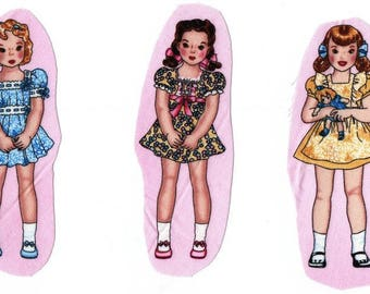 Textile sewing applications: 3 images sewing dolls US baby doll Retro. So cute!