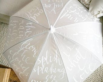 Custom Vinyl Umbrella - Hand-lettered/Hand-written Rain Poem