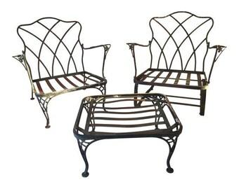 Vintage Wrought Iron 3 Pieces Outdoor Set,Garden ,Patio, Deck Furniture