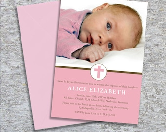 Baptism or Christening Invitation – Photo Printable Personalized –Little Cross Girl (Digital File)
