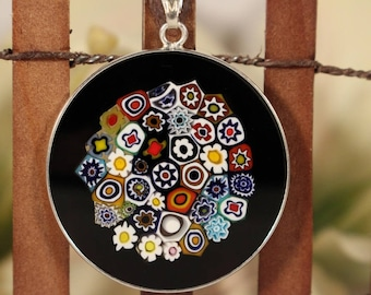 32mm Authentic Murano Glass Millefiori Pendant 925 Stamped Italian Sterling Silver - BKFW2#