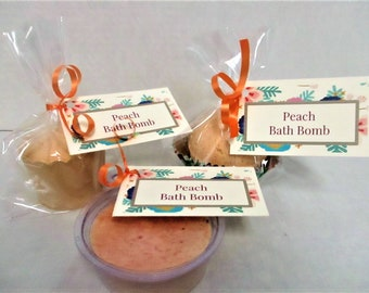 Peach Bath Bomb / Bridal Shower Favor / Bath Fizzy / Spa Product / Wedding Favors / Baby Shower Favors / Bath Products  / Bath Bombs