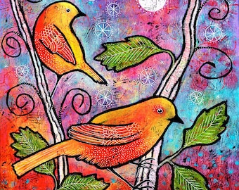 Yellow Bird Print. Whimsical Colorful Small Bird Art Print. Gift under 50. Unique Gifts for Women. Whimsical Bird Artwork by Lindy Gaskill