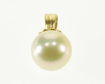 14k 6.9mm Round Spherical Pearl Pendant Gold