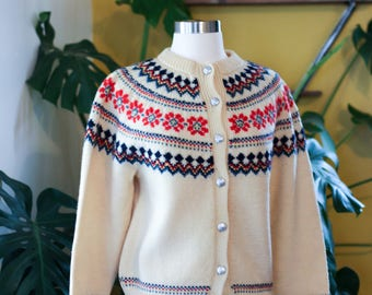 vintage hand knitted women's LULLE OTTERSTAD wool cardigan/sweater | handmade in Oslo, Norway