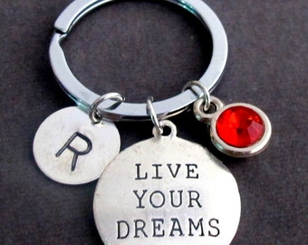 Live Your Dream Key Chain,Henry David Thoreau Quote,Dream Keychain,Live your Dream Quote,Hand Stamped Inspirational Gift,Free ShippingUSA