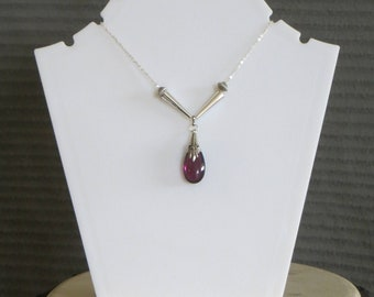 amethyst necklace with silver chain