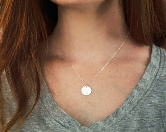 Hammered Initial Necklace, Hand Stamped Sterling Silver Initial Charm, Hand Stamped Initial