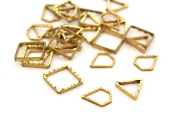 30 small connectors gold plated brass 10x8mm
