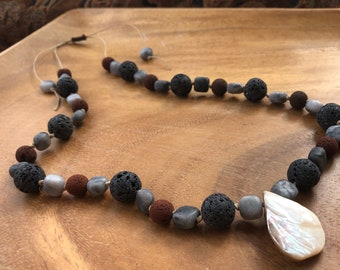 Red & Black Lava Stone Necklace