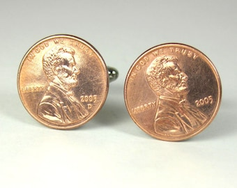 Personalized Penny Cuff Links Choice of Year - Lucky Penny Father's Day Birthday Wedding Groom Anniversary Graduation Gift Cufflinks