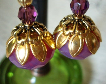 BACK IN STOCK - Pink Czech Glass & Purple Swarovski Golden Earrings - Beaded Dangle TierraCast Lotus Flower Floral Waterlily Earrings