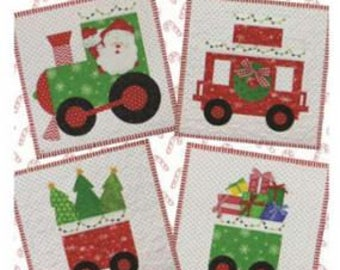 PATTERN CHRISTMAS TRAIN North Pole Express  Throw Mini Quilts and Table Topper   We combine shipping