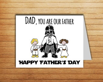 Star Wars Fathers Day Card from daughter or son Father's Day Gift From Kids Cute Printable Funny Darth Vader Princess Leia Luke Skywalker