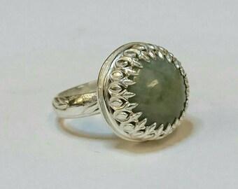 Sterling silver handmade statement ring with natural aquamarine gemstone, hallmarked in Edinburgh