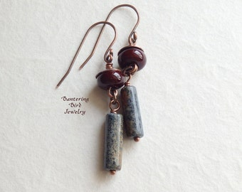 Earthy Blue and Brown Earrings, Lampwork Glass with Dumortierite Stone Tube Bead Dangle, Unique Copper Jewelry
