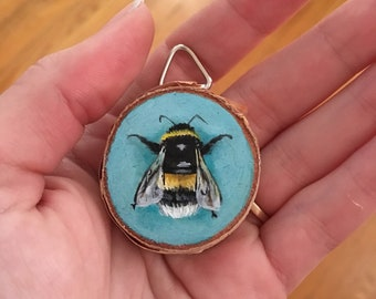 Little Bee - Tiny Oil Painting