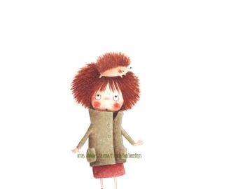 Print, watercolor illustration, Ricciolina, with hedgehog in the hairs and hairs like an hedgehog, sweet, fineart, kidsroom