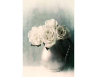 White Rose Art Print, Fine Art Photography Print Rose, Gray Decor,  Still Life Photography, Rose Photography, Flower Wall Decor