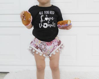 All You Need is Love, and Donuts Children's Shirt, Donut Shirt, Donut Onesie, Kid's Donut Shirt, Baby Donut Onesie, Baby Shower Gift