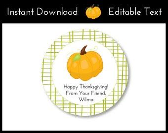 Pumpkin Favor Tags, Pumpkin Tags, Thanksgiving Favor Tags, Thanksgiving Tags, Thanksgiving Labels, Pumpkin Labels Instant Download, Editable